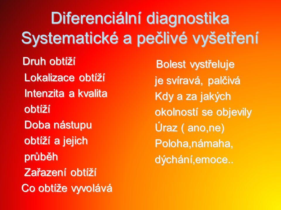 Diferenciální diagnostika Systematické a pečlivé vyšetření Druh obtíží Druh obtíží Lokalizace obtíží Lokalizace obtíží Intenzita a kvalita Intenzita a