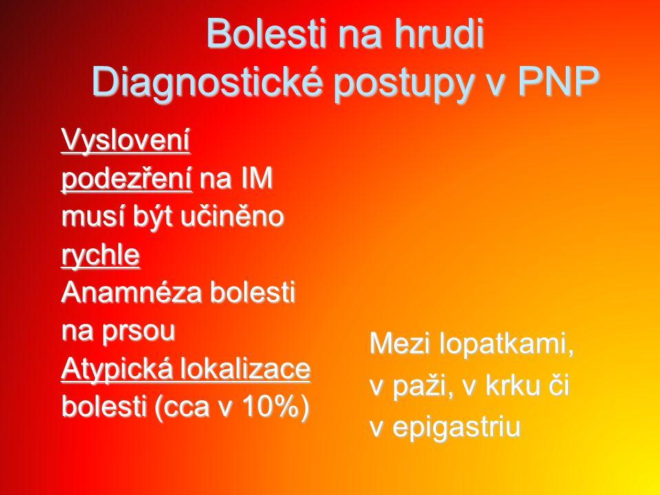 Bolesti na hrudi Diagnostické postupy v PNP Vyslovení Vyslovení podezření na IM podezření na IM musí být učiněno musí být učiněno rychle rychle Anamné