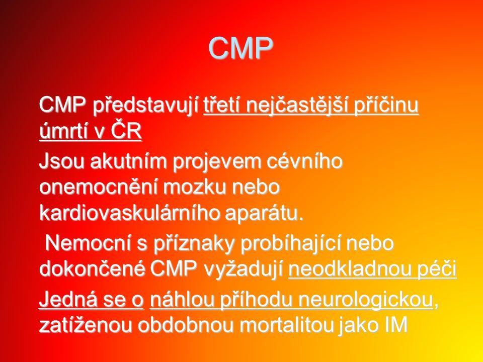 CMP CMP představují třetí nejčastější příčinu úmrtí v ČR CMP představují třetí nejčastější příčinu úmrtí v ČR Jsou akutním projevem cévního onemocnění