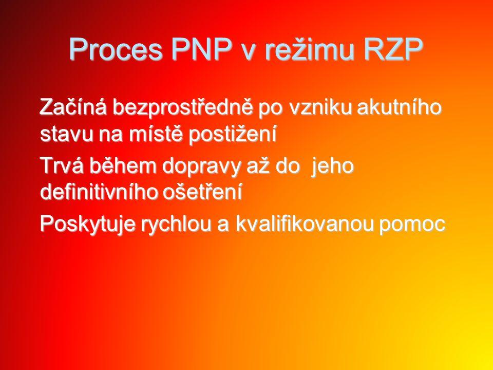 Proces PNP v režimu RZP Začíná bezprostředně po vzniku akutního stavu na místě postižení Začíná bezprostředně po vzniku akutního stavu na místě postiž