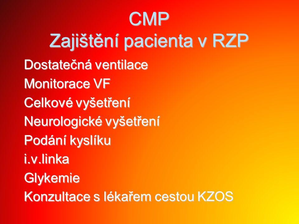 CMP Zajištění pacienta v RZP Dostatečná ventilace Dostatečná ventilace Monitorace VF Monitorace VF Celkové vyšetření Celkové vyšetření Neurologické vy