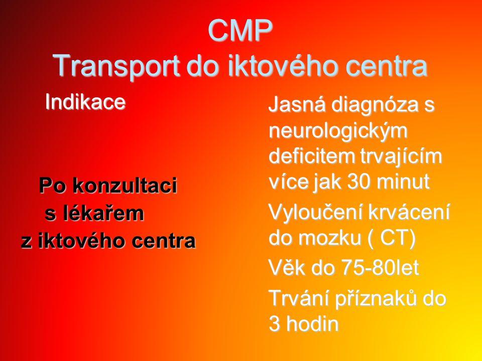 CMP Transport do iktového centra Indikace Indikace Po konzultaci Po konzultaci s lékařem s lékařem z iktového centra Jasná diagnóza s neurologickým de