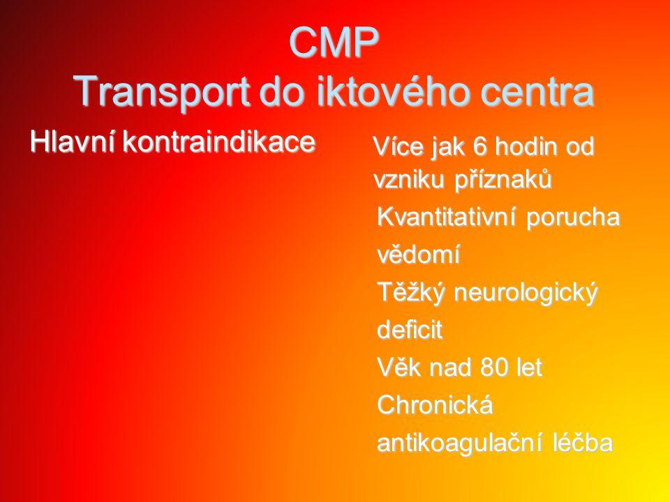 CMP Transport do iktového centra Hlavní kontraindikace Více jak 6 hodin od vzniku příznaků Více jak 6 hodin od vzniku příznaků Kvantitativní porucha K