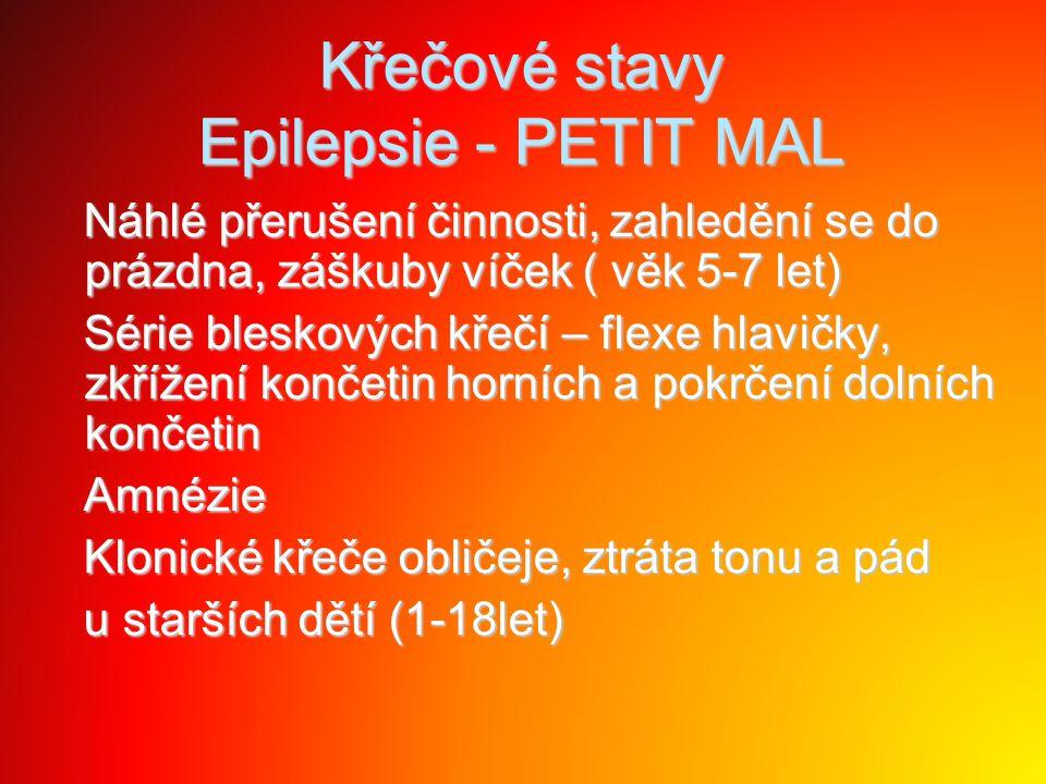 Křečové stavy Epilepsie - PETIT MAL Náhlé přerušení činnosti, zahledění se do prázdna, záškuby víček ( věk 5-7 let) Náhlé přerušení činnosti, zahleděn
