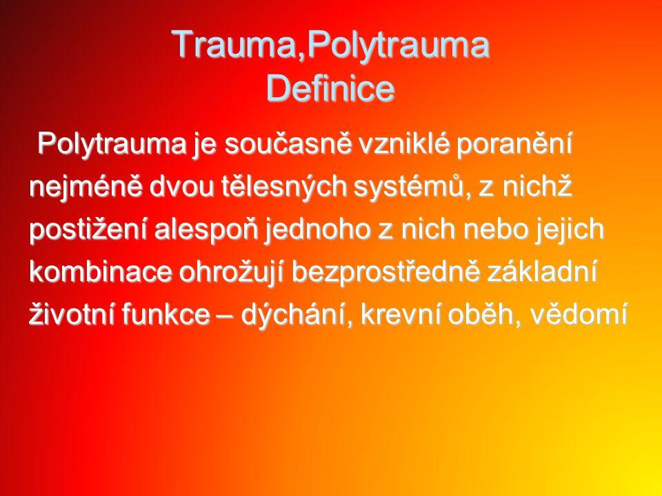 Trauma,Polytrauma Definice Polytrauma je současně vzniklé poranění Polytrauma je současně vzniklé poranění nejméně dvou tělesných systémů, z nichž pos