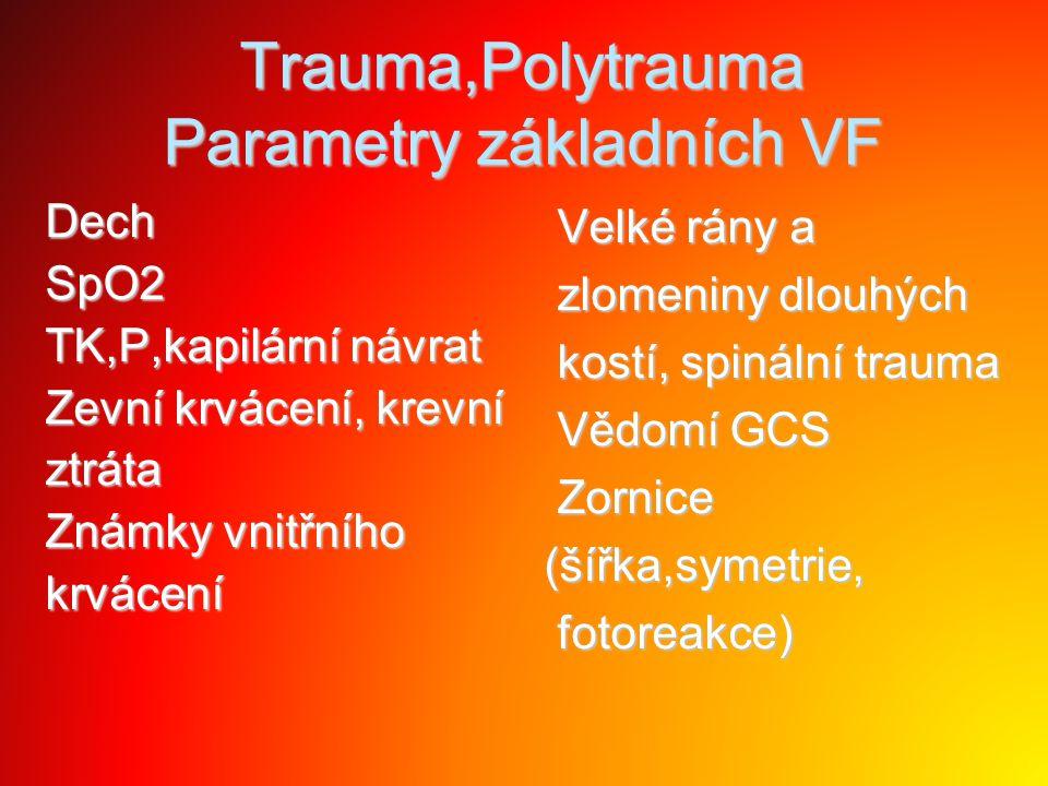Trauma,Polytrauma Parametry základních VF DechSpO2 TK,P,kapilární návrat Zevní krvácení, krevní ztráta Známky vnitřního krvácení Velké rány a Velké rá