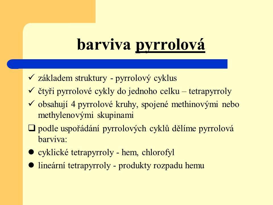 barviva pyrrolová základem struktury - pyrrolový cyklus čtyři pyrrolové cykly do jednoho celku – tetrapyrroly obsahují 4 pyrrolové kruhy, spojené meth