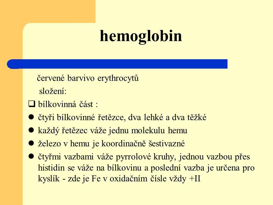 hemoglobin červené barvivo erythrocytů složení:  bílkovinná část : čtyři bílkovinné řetězce, dva lehké a dva těžké každý řetězec váže jednu molekulu
