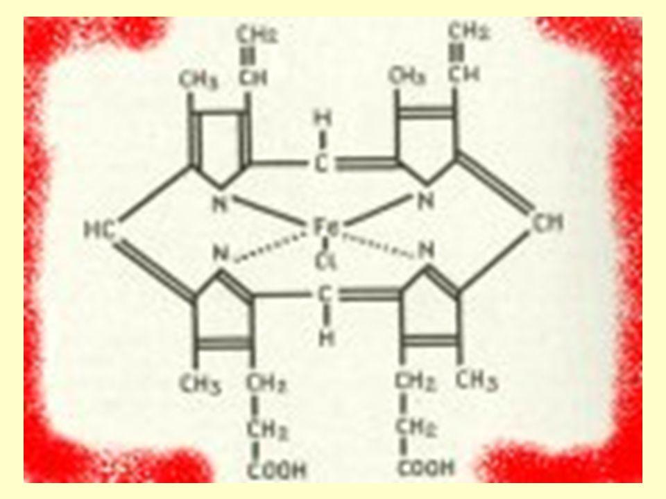 patologické hemoglobiny  methemoglobin záměna v oblasti vazebného místa pro kyslík, kde se vyskytuje hem s trojmocným železem, který nemá schopnost přenášet kyslík