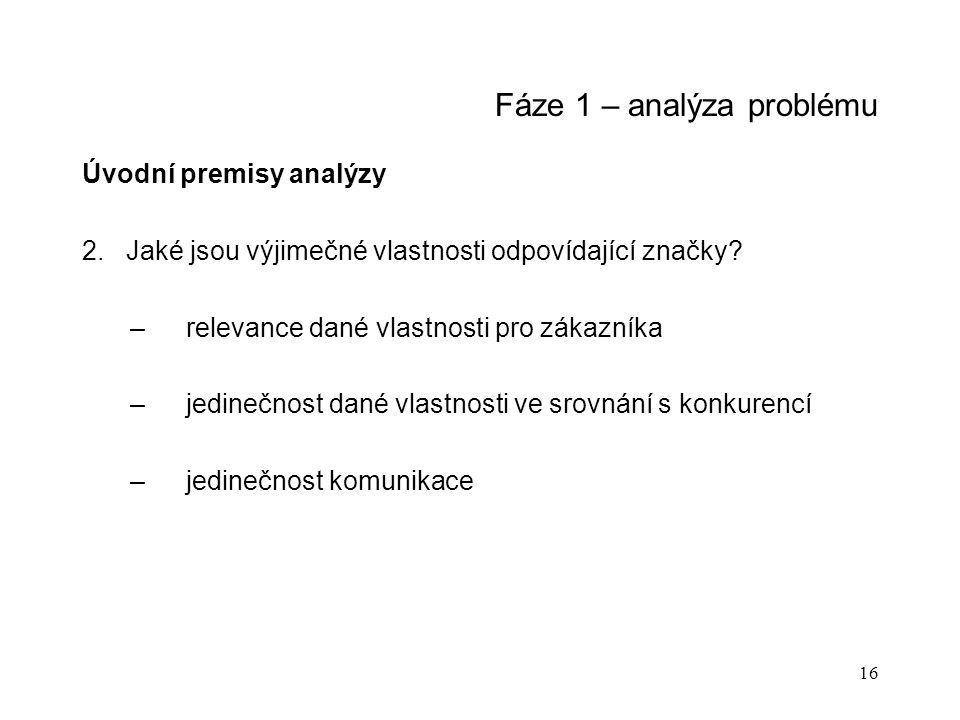 16 Fáze 1 – analýza problému Úvodní premisy analýzy 2. Jaké jsou výjimečné vlastnosti odpovídající značky? –relevance dané vlastnosti pro zákazníka –j