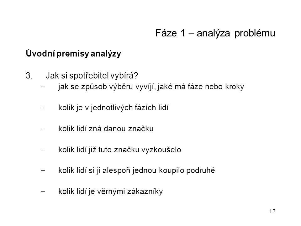 17 Fáze 1 – analýza problému Úvodní premisy analýzy 3.Jak si spotřebitel vybírá.