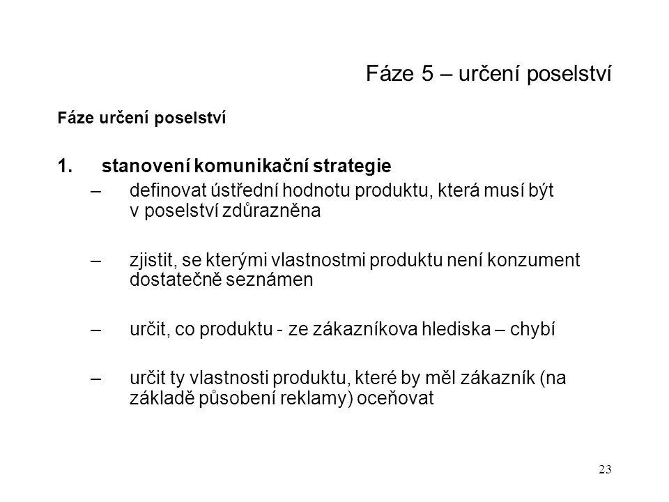 23 Fáze 5 – určení poselství Fáze určení poselství 1.stanovení komunikační strategie –definovat ústřední hodnotu produktu, která musí být v poselství