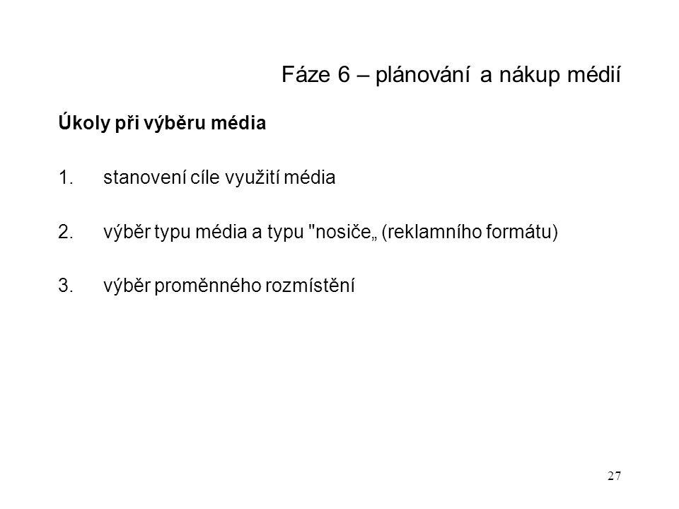 """27 Fáze 6 – plánování a nákup médií Úkoly při výběru média 1.stanovení cíle využití média 2.výběr typu média a typu nosiče"""" (reklamního formátu) 3.výběr proměnného rozmístění"""