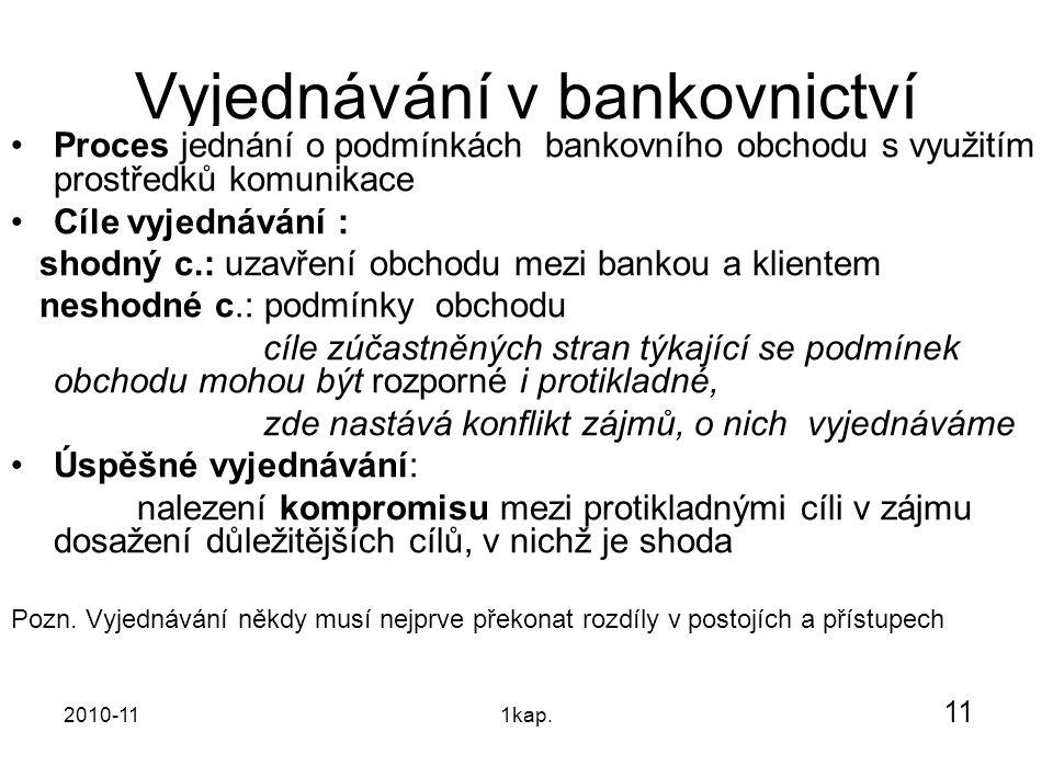 2010-111kap. Vyjednávání v bankovnictví Proces jednání o podmínkách bankovního obchodu s využitím prostředků komunikace Cíle vyjednávání : shodný c.: