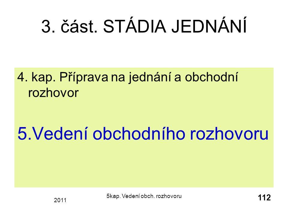 2011 5kap.Vedení obch. rozhovoru 112 3. část. STÁDIA JEDNÁNÍ 4.