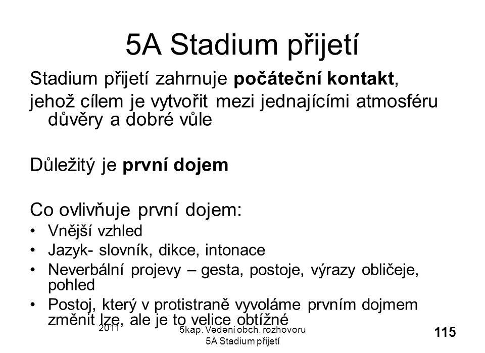 2011 5kap. Vedení obch. rozhovoru 5A Stadium přijetí 115 5A Stadium přijetí Stadium přijetí zahrnuje počáteční kontakt, jehož cílem je vytvořit mezi j