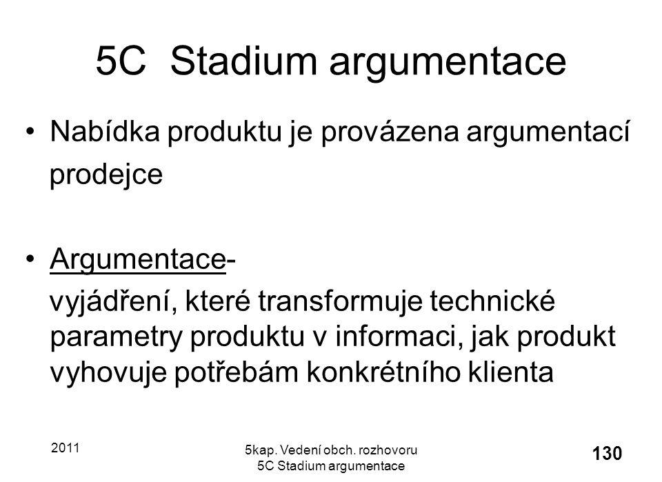 2011 5kap. Vedení obch. rozhovoru 5C Stadium argumentace 130 5C Stadium argumentace Nabídka produktu je provázena argumentací prodejce Argumentace- vy