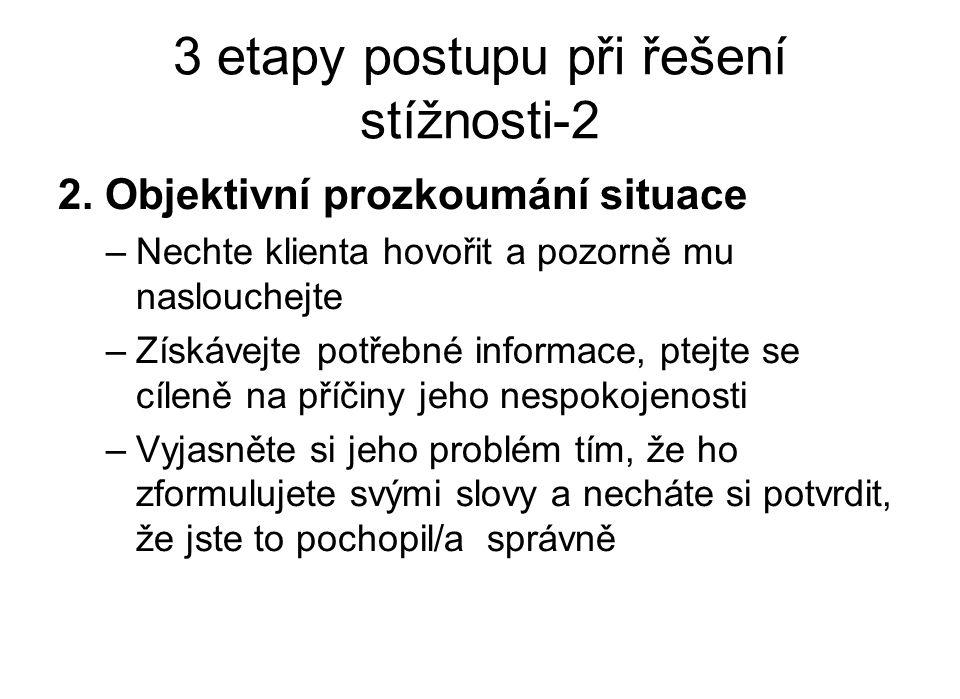 3 etapy postupu při řešení stížnosti-2 2.