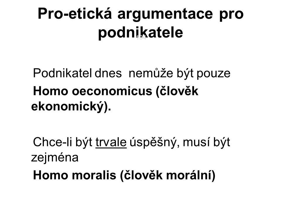 194 Pro-etická argumentace pro podnikatele Podnikatel dnes nemůže být pouze Homo oeconomicus (člověk ekonomický). Chce-li být trvale úspěšný, musí být