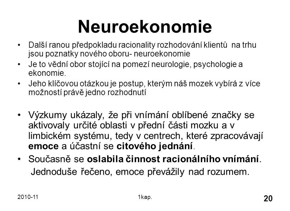 2010-111kap. 20 Neuroekonomie Další ranou předpokladu racionality rozhodování klientů na trhu jsou poznatky nového oboru- neuroekonomie Je to vědní ob