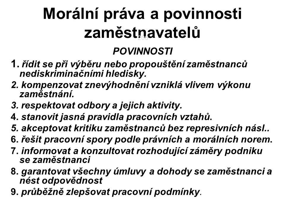 206 Morální práva a povinnosti zaměstnavatelů POVINNOSTI 1.