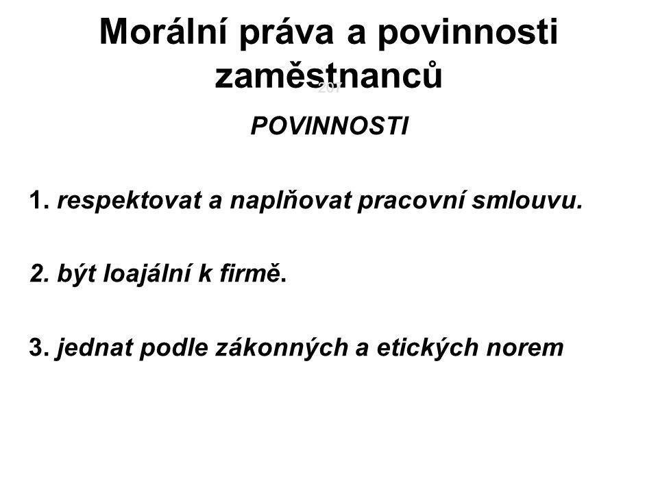 207 Morální práva a povinnosti zaměstnanců POVINNOSTI 1.