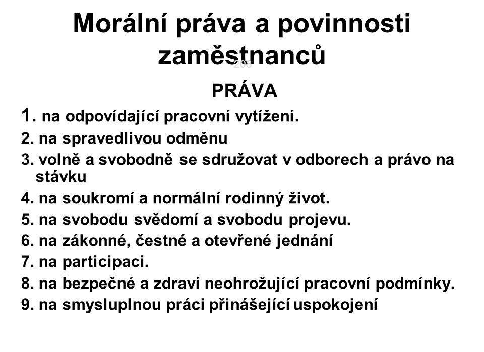 208 Morální práva a povinnosti zaměstnanců PRÁVA 1.