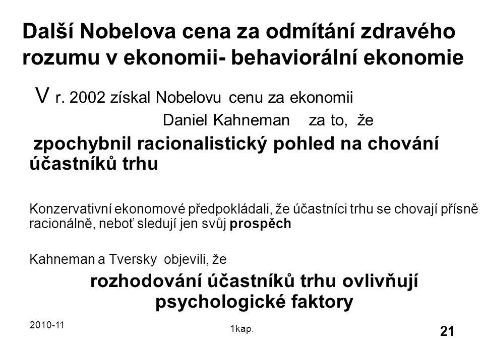 2010-11 1kap. 21 Další Nobelova cena za odmítání zdravého rozumu v ekonomii- behaviorální ekonomie V r. 2002 získal Nobelovu cenu za ekonomii Daniel K