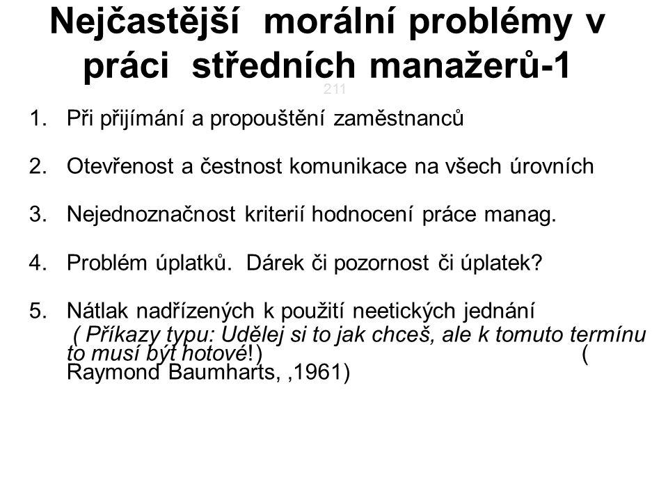 Nejčastější morální problémy v práci středních manažerů-1 1.Při přijímání a propouštění zaměstnanců 2.Otevřenost a čestnost komunikace na všech úrovní