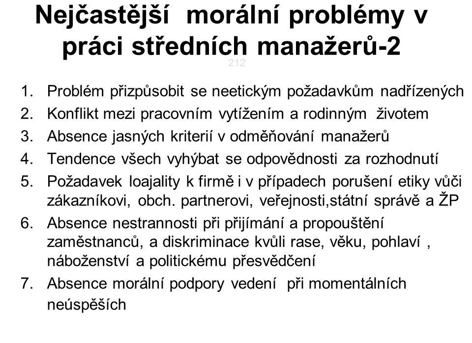 Nejčastější morální problémy v práci středních manažerů-2 1.Problém přizpůsobit se neetickým požadavkům nadřízených 2.Konflikt mezi pracovním vytížení
