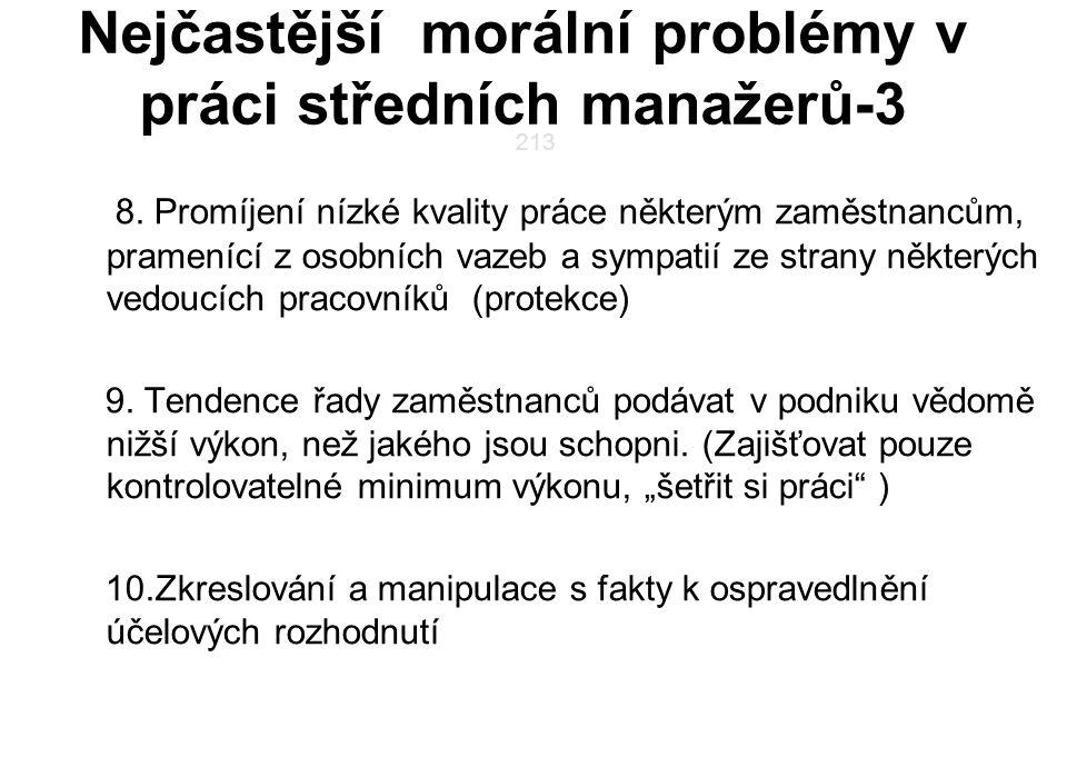 Nejčastější morální problémy v práci středních manažerů-3 8. Promíjení nízké kvality práce některým zaměstnancům, pramenící z osobních vazeb a sympati