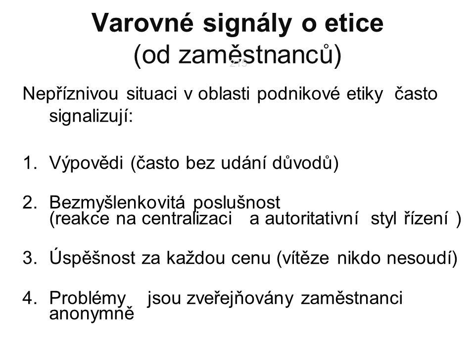 215 Varovné signály o etice (od zaměstnanců) Nepříznivou situaci v oblasti podnikové etiky často signalizují: 1.Výpovědi (často bez udání důvodů) 2.Bezmyšlenkovitá poslušnost (reakce na centralizaci a autoritativní styl řízení ) 3.Úspěšnost za každou cenu (vítěze nikdo nesoudí) 4.Problémy jsou zveřejňovány zaměstnanci anonymně 215