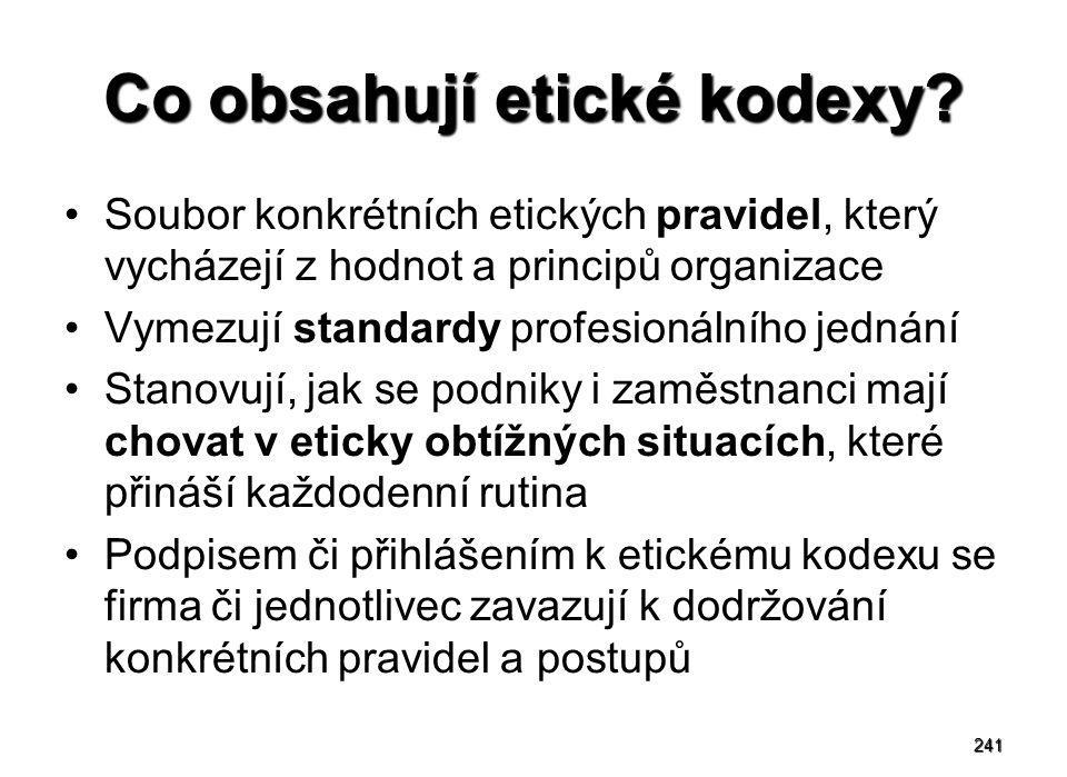 241 Co obsahují etické kodexy? Soubor konkrétních etických pravidel, který vycházejí z hodnot a principů organizace Vymezují standardy profesionálního
