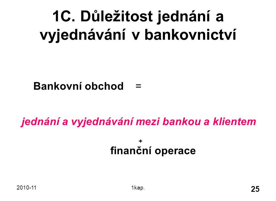 2010-111kap. 25 1C. Důležitost jednání a vyjednávání v bankovnictví Bankovní obchod = jednání a vyjednávání mezi bankou a klientem + finanční operace
