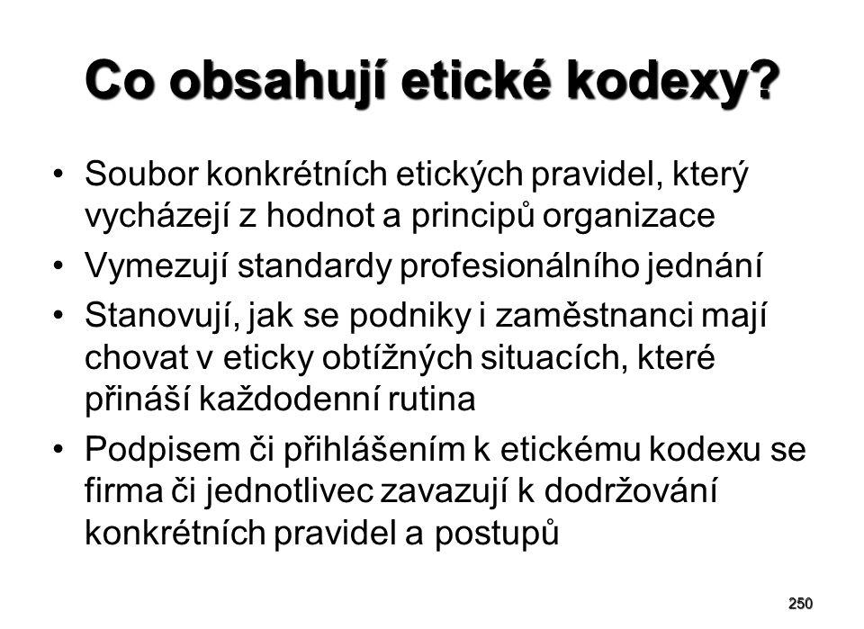 250 Co obsahují etické kodexy? Soubor konkrétních etických pravidel, který vycházejí z hodnot a principů organizace Vymezují standardy profesionálního
