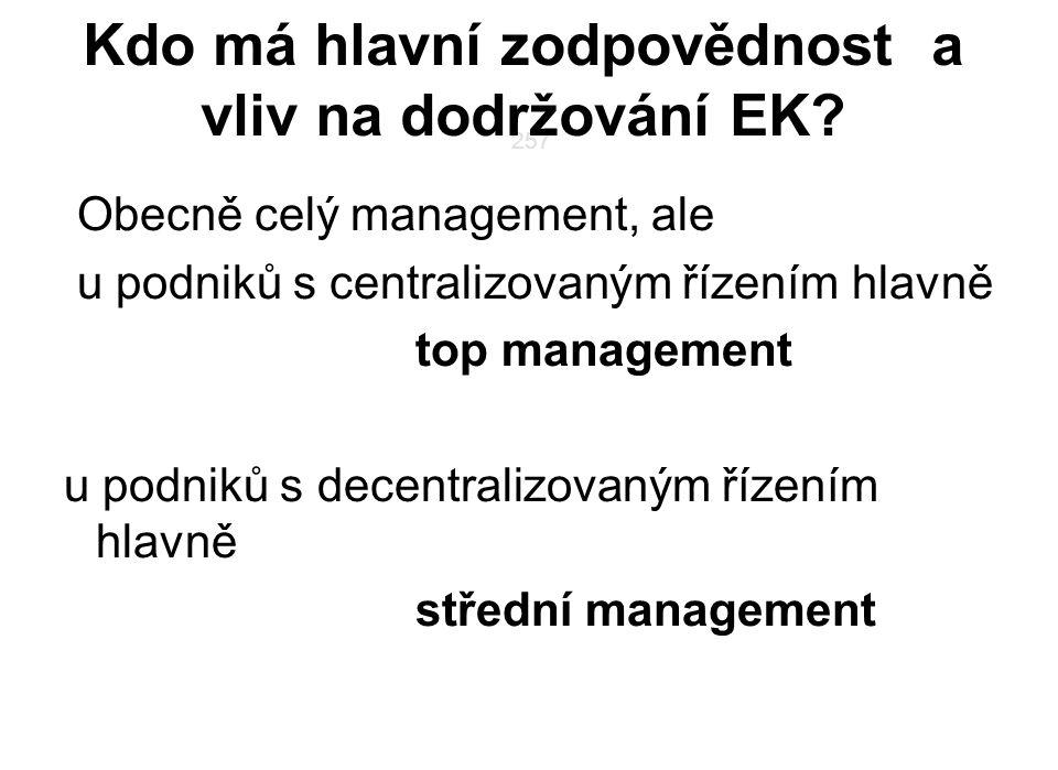 257 Kdo má hlavní zodpovědnost a vliv na dodržování EK? Obecně celý management, ale u podniků s centralizovaným řízením hlavně top management u podnik
