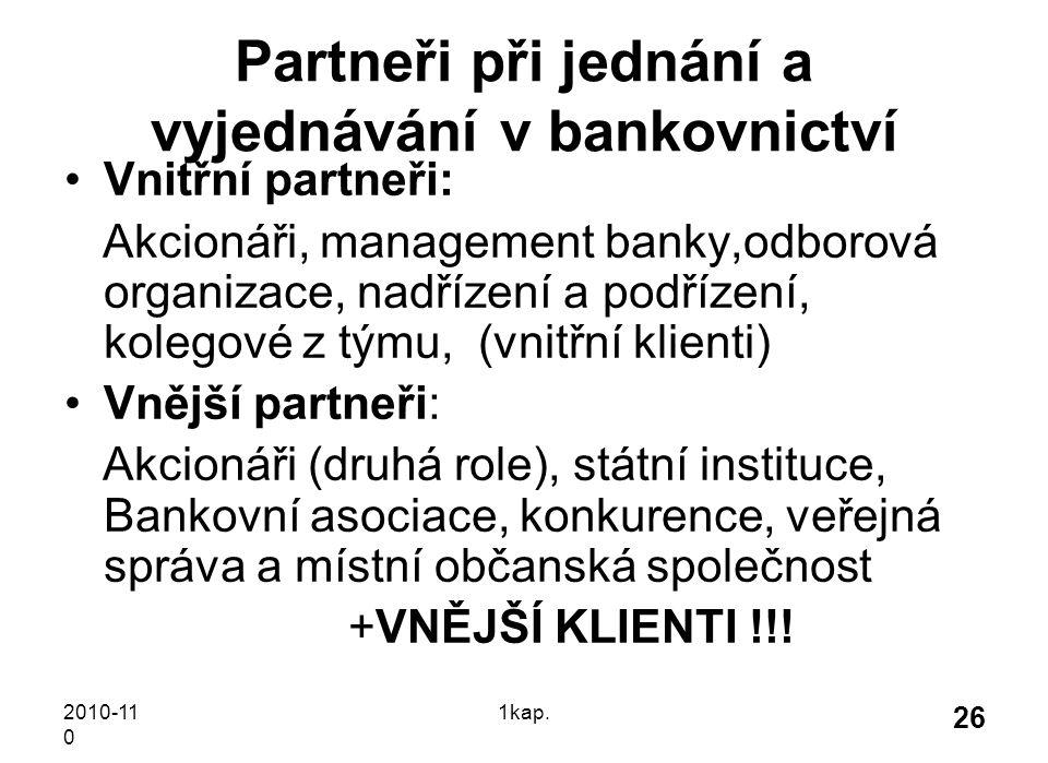 2010-11 0 1kap. 26 Partneři při jednání a vyjednávání v bankovnictví Vnitřní partneři: Akcionáři, management banky,odborová organizace, nadřízení a po