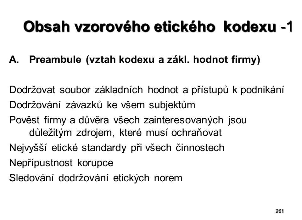 261 Obsah vzorového etického kodexu -1 A.Preambule (vztah kodexu a zákl.