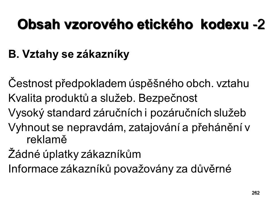 262 Obsah vzorového etického kodexu -2 B.Vztahy se zákazníky Čestnost předpokladem úspěšného obch.