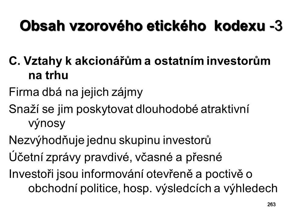 263 Obsah vzorového etického kodexu -3 C. Vztahy k akcionářům a ostatním investorům na trhu Firma dbá na jejich zájmy Snaží se jim poskytovat dlouhodo