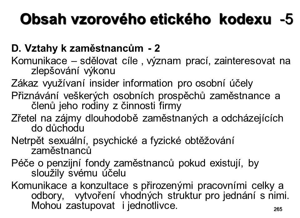 265 Obsah vzorového etického kodexu -5 D.