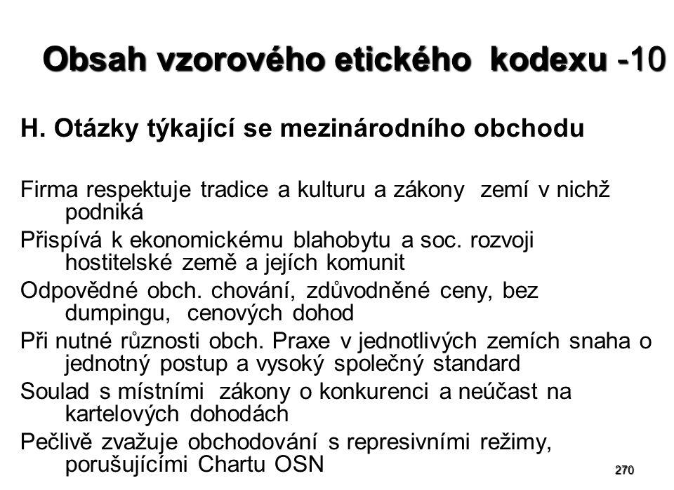 270 Obsah vzorového etického kodexu -10 H.
