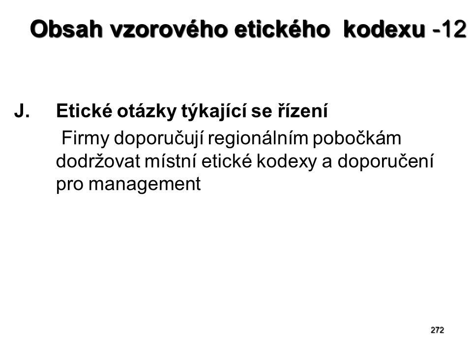 272 Obsah vzorového etického kodexu -12 J.Etické otázky týkající se řízení Firmy doporučují regionálním pobočkám dodržovat místní etické kodexy a dopo