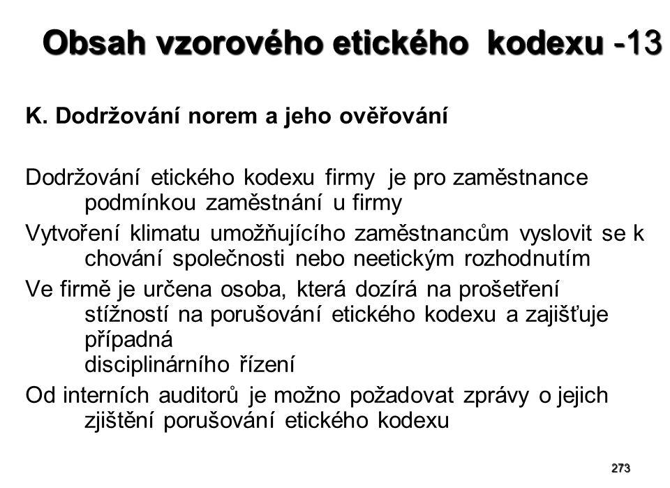 273 Obsah vzorového etického kodexu -13 K.