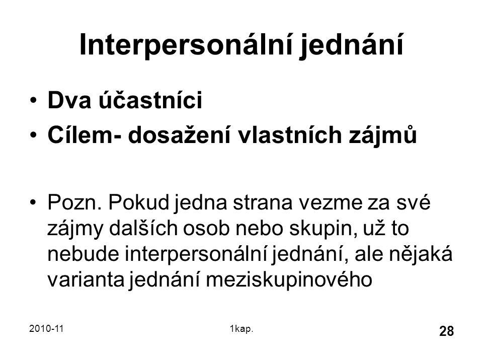 2010-111kap. 28 Interpersonální jednání Dva účastníci Cílem- dosažení vlastních zájmů Pozn. Pokud jedna strana vezme za své zájmy dalších osob nebo sk