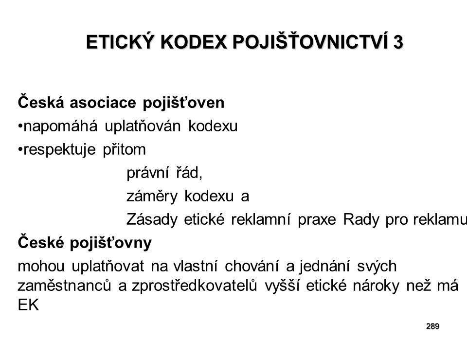 289 ETICKÝ KODEX POJIŠŤOVNICTVÍ 3 Česká asociace pojišťoven napomáhá uplatňován kodexu respektuje přitom právní řád, záměry kodexu a Zásady etické rek