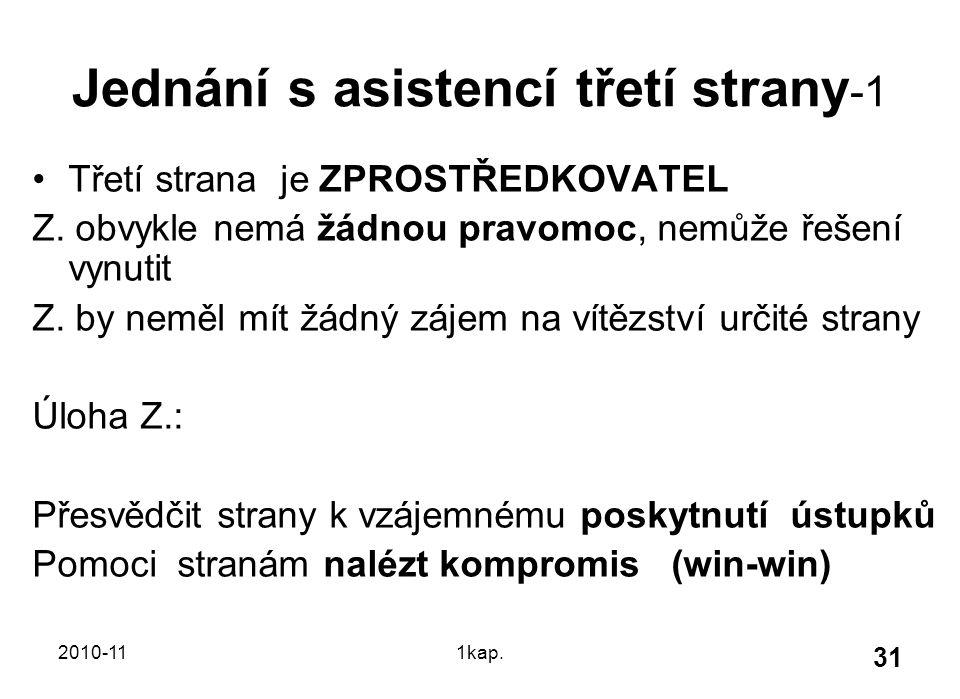 2010-111kap. 31 Jednání s asistencí třetí strany -1 Třetí strana je ZPROSTŘEDKOVATEL Z. obvykle nemá žádnou pravomoc, nemůže řešení vynutit Z. by nemě