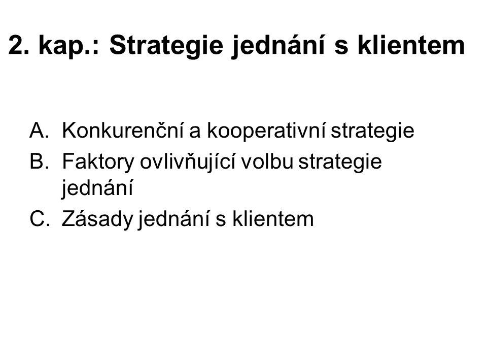 2. kap.: Strategie jednání s klientem A.Konkurenční a kooperativní strategie B.Faktory ovlivňující volbu strategie jednání C.Zásady jednání s klientem