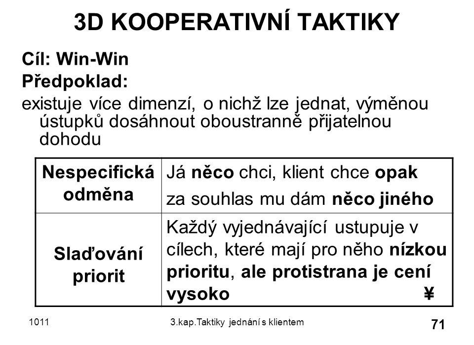 10113.kap.Taktiky jednání s klientem 71 3D KOOPERATIVNÍ TAKTIKY Cíl: Win-Win Předpoklad: existuje více dimenzí, o nichž lze jednat, výměnou ústupků dosáhnout oboustranně přijatelnou dohodu Nespecifická odměna Já něco chci, klient chce opak za souhlas mu dám něco jiného Slaďování priorit Každý vyjednávající ustupuje v cílech, které mají pro něho nízkou prioritu, ale protistrana je cení vysoko ¥