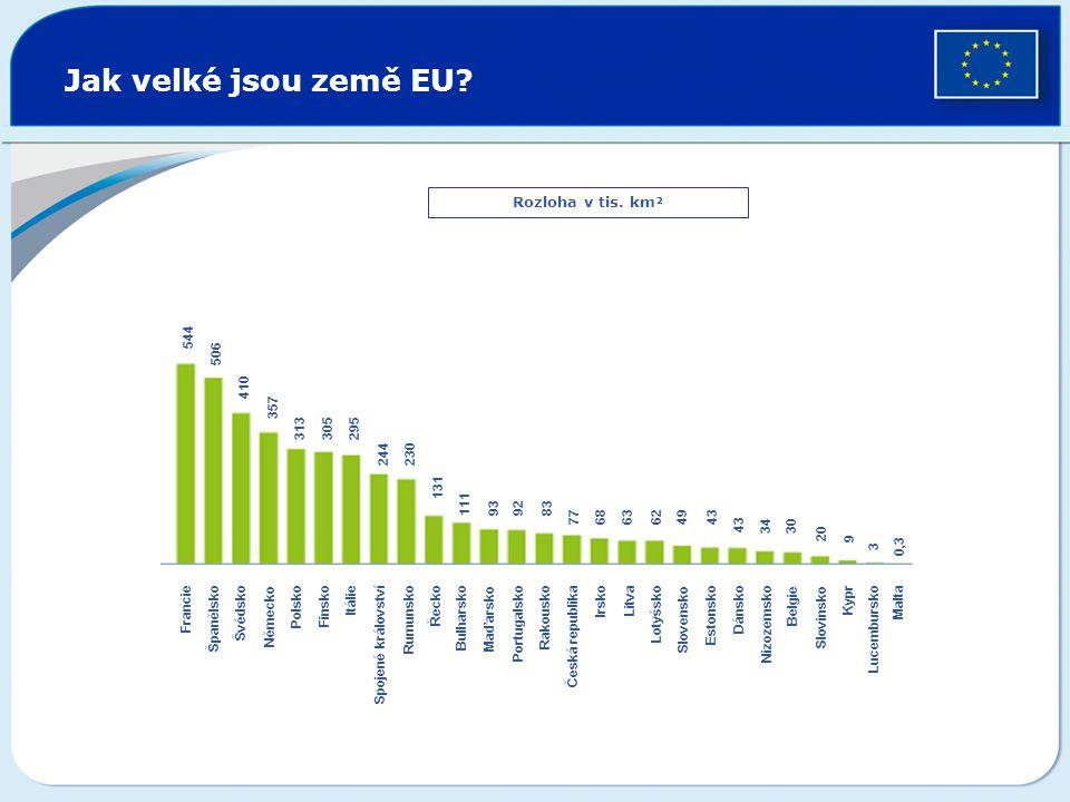 Jak velké jsou země EU? Rozloha v tis. km² Francie Španělsko Švédsko Německo Polsko Finsko Itálie Spojené království Rumunsko Řecko Bulharsko Maďarsko
